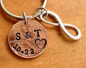 Personalized 7 Year Anniversary Keychain Stamped Penny