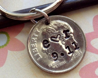 10 Year Anniversary/2008 Dime/ 10th Anniversary Gifts for Men/ 10 Year Wedding Anniversary/ Stamped Dime/Hand Stamped Dime/ Gift for Her