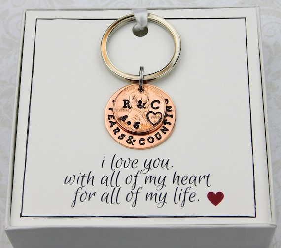 7th Wedding Anniversary 2012 Personalized lucky penny Gift for her gift for him
