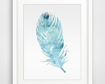 Feather blue watercolor Printable art, Blue Wall art, Wall art, Printable Wall Art, Downloadable Wall Prints, Digital Art