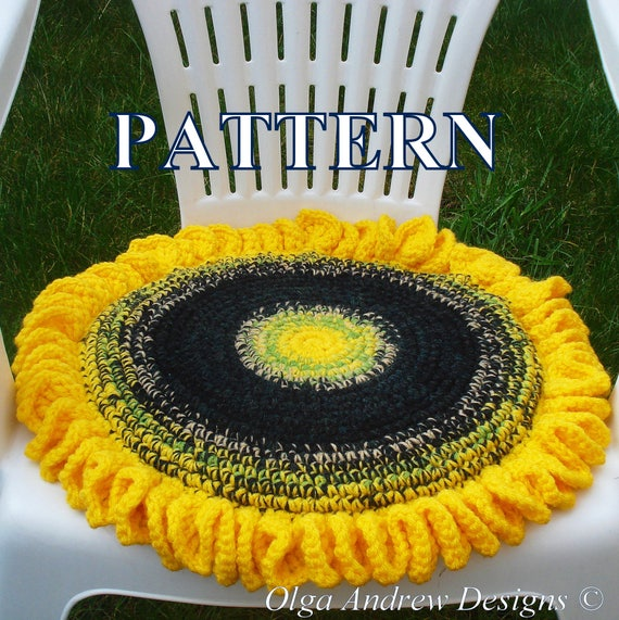 Sunflower Chair Seat Cushion Crochet Pattern Crochet Sunflower