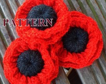 Poppy crochet pattern, poppy flower pattern PDF, crochet poppy pattern, poppy PDF pattern, crochet flower PDF pattern OlgaAndrewDesigns104