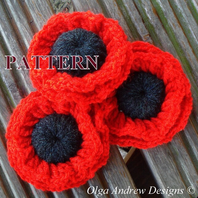 Poppy Crochet Pattern Crochet Poppy Flower Pattern Poppy Etsy