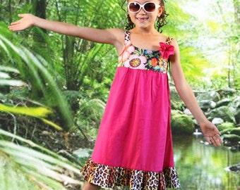 Fuschia Pink Boho Dress for Girls with Mixed Prints / Twirly Custom Boutique Dress by Juliette Sunshine / Size 8