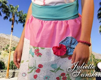 Boho Girls Pink, Aqua Blue, White Floral Print Custom Boutique Skirt for Girls by Juliette Sunshine / Size 6/7