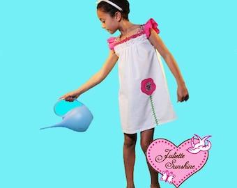 Custom Boutique White & Fuschia Boho Flower Appplique Dress.  Boutique Dress by Juliette Sunshine for Girls- Fits Girls Size 7/8