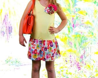 Yellow & Floral Print Custom Boho Boutique Dress/ Drop Waist Dress w/ flower appliques for Girls by Juliette Sunshine / Size 8