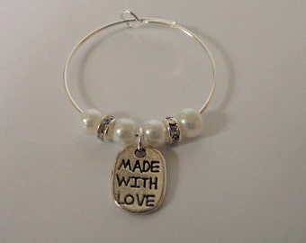 Made with Love wine glass charms x 2, champagne charms, wedding charms, wine glass charms, wedding favors, wedding favours,