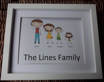 Personalised Family Cartoon Picture, Christmas gift New home gift  Birthday gift, family portrait cartoon family Personalised gifts cartoon