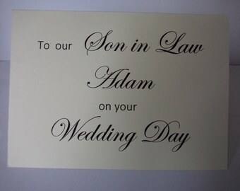 Son in law wedding card, Personalised card to son in law, wedding card for groom, son-in-law, wedding card,  personalised, wedding cards,