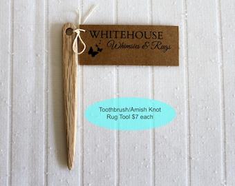 """Toothbrush Rag Rug Tool/Rug Tool/ Amish Knot Toothbrush Rug Tool/ 4"""" wood rug needle/Rag Making/Toothbrush Rug Needle/Rug Supplies"""