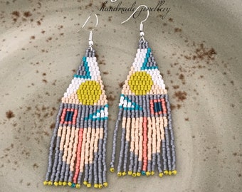 Beaded earrings peyote stitch seed bead tassel earrings