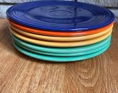 Vintage Original Fiesta Dinner Plates 9.5 quot Radioactive Red Yellow Green Cobalt