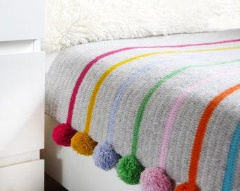 Crochet Blanket, Pom Pom Stripe Crochet Blanket Kit