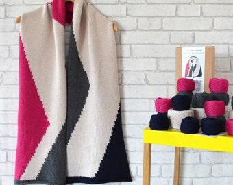 Geometric Scarf,Chunky Knitting Kit,Knitting Kit,Chunky Scarf,Oversized Knitting,Blanket Scarf,Blanket Scarf Kit,Oversize Knitting,Kit,Kits
