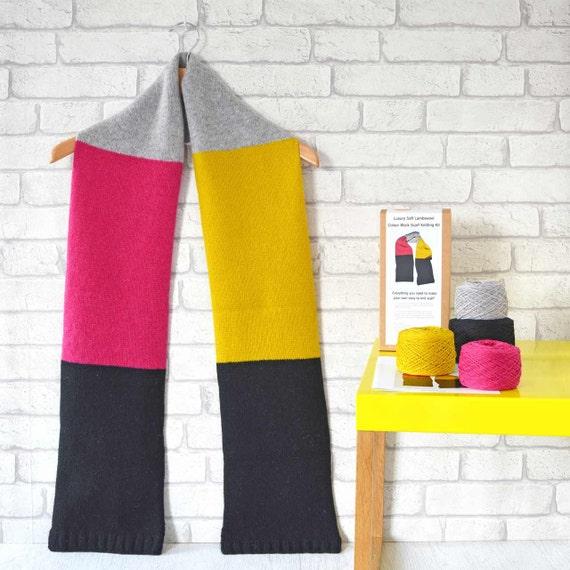 Kit Schal stricken Kit Muster Nadeln und Garn stricken | Etsy