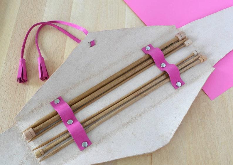 Wallet With Bamboo Needles,Knitting Needle case,Knitting Needle Organiser,Personalised Gift Personalised Leather Knitting Needle Organizer