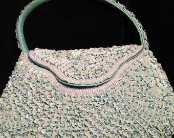 Super Kitsch Pale Aqua Blue Sequined & beaded handbag