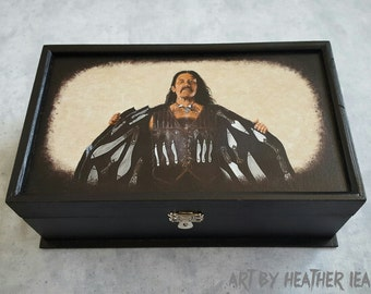 Danny Trejo as Machete hand painted box - art - OOAK - Knives - grindhouse - Heather's House of Horror - decorative unique collector piece