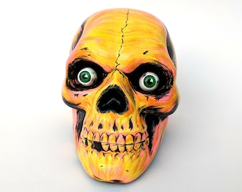 Hand painted skull - Beistle Co. Halloween inspired - Glow in the Dark eyes - OOAK - Samhain - Heather's House of Horror - Trick or Treat