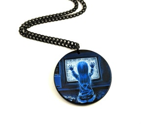 hand painted Poltergeist pendant necklace - Carol Anne - Tobe Hooper - Heather's House of Horror - Creepy jewelry - Horror art - Haunted