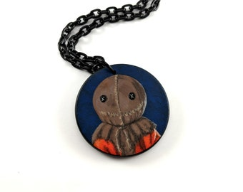 hand painted Sam pendant necklace - Trick 'r Treat - Samhain - Heather's House of Horror - Creepy jewelry - Horror art - Halloween
