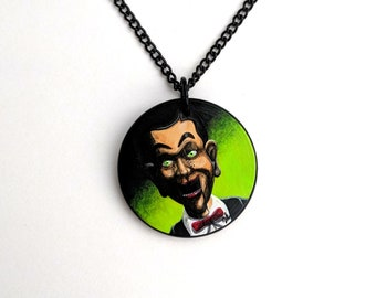 hand painted Slappy puppet pendant necklace - R.L. Stine - Night of the Living Dummy - Creepy jewelry - ventriloquist - Goosebumps - Horror