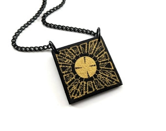 Hand painted Hellraiser puzzlebox pendant necklace - Pinhead - Cenobite - Heather's House of horror - creepy jewelry - supernatural