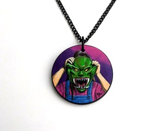 hand painted Goosebumps pendant necklace - R.L. Stine  - Creepy jewelry - The Haunted Mask - Horror necklace - Carly Beth - Trick or Treat
