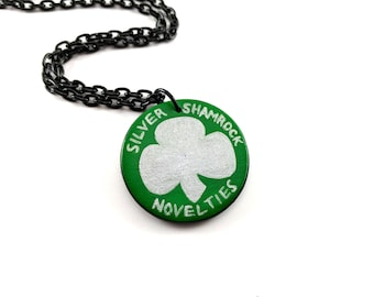 Hand painted Silver Shamrock Novelties pendant necklace - Halloween III - Season of the Witch - Heather's House of Horror - Samhain - Horror