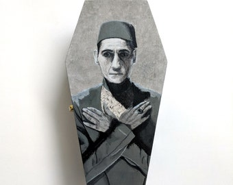 Hand painted coffin box - The Mummy - Ardeth Bey - Imhotep - Horror art - Universal Monster - Boris Karloff - Silver Screen - Egyptian tomb