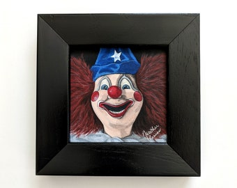 Creepy Poltergeist Clown framed 4x4 mini painting - Heather's House of Horror - Horror Art - Tobe Hooper film - Killer Toy - They're Here
