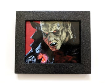 Custom hand painted framed art print - Wishmaster - Wes Craven - The Djinn - Andrew Divoff - Genie - Heather's House of Horror - Dark art