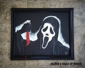 16x20 canvas Ghostface painting - Horror Art - Wes Craven - Scream - scary movies - bloody knife - serial killer - psychopath - Sidney