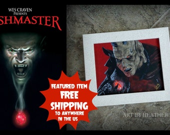 8x10 Wishmaster canvas painting - Wes Craven - The Djinn - horror art - Andrew Divoff - monster - scary movies - genie - three wishes