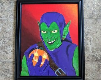 The Green Goblin canvas painting - Norman Osborn - The Amazing Spiderman - pumpkin bomb - Marvel - Heather's House of Horror - Geeky Art
