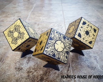 Hand painted Hellraiser puzzle box - Heather's House of Horror - Pinhead - Cenobite - Horror Art - Hellbound - Clive Barker - Doug Bradley