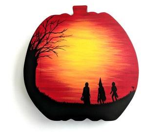 Hand painted Season of the Witch inspired Pumpkin Plaque - Wall Decor - Halloween - Trick or Treat - October Sun - Autumn - Fall season Art