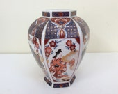 Vintage Japanese floral porcelain vase in red, blue gold. Arita Imari vase. Vintage chinoiserie red blue gold vase. Japanese vase.
