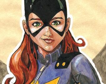 Original Watercolor Painting of DC Comics Batgirl