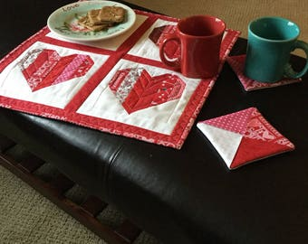 Loving Hearts Table mat and coaster set, Valentine hostess set, coffee linens