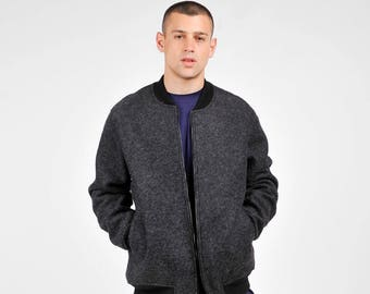 New Collection  Dark Grey Coat / Wool Black Zipper Neoprene Jacket / Side and Inside  pockets  by AakashaMen A20563M
