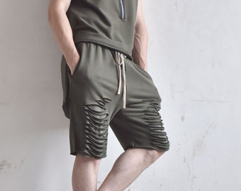 New 2016 Loose Casual Short Cotton Torn Men Pants/Extravagant Cutted Shorts by AakashaMen A05584M