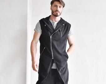 New Black Tеrry Cotton Sleeveless Coat A90547M