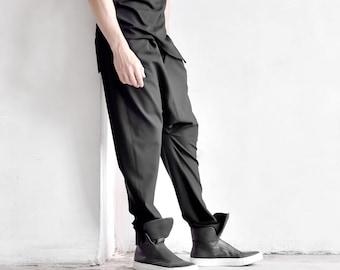 Cold Wool Black Loose Drop Crotch Pants by  AakashaMen A90549M