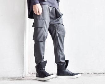 New Cold Wool Black Loose Drop Crotch Pants by  AakashaMen A05262M