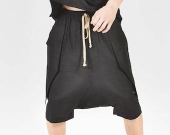 New 2016 Black Loose Casual Drop Crotch Linen Harem Pants  by AakashaMen A05462M