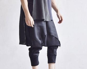 Drop Crotch Linen Knit Harem Pants A05167M