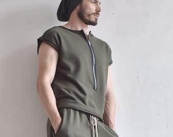 New Sleeveless Zipper Top/ Men's Asymmetric Sweatshirt Top / Extravagant Vest by AakashaMen A01560M