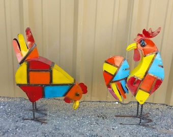 Rustic metal chickens. Metal chickens. rustic chickens. colorful metal chickens. chicken decor. mothers day . mothers day gift